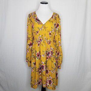 Floral LS POCKETS V-Neck Smocked Waist Mini Dress